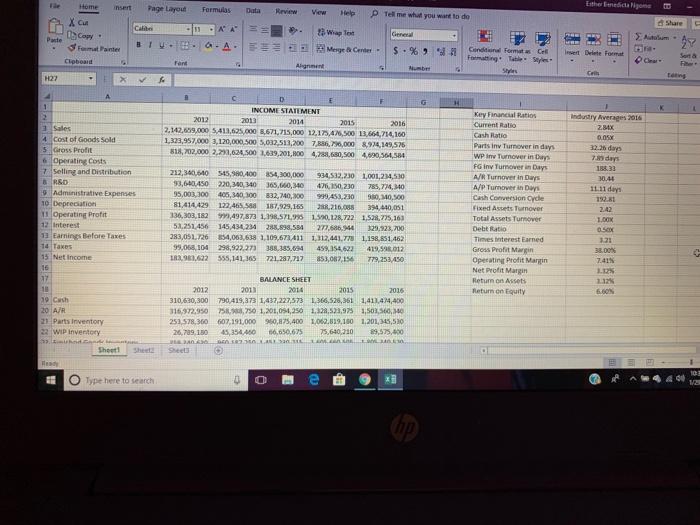 Case Analysis #1 Financial Statements Analysis Par