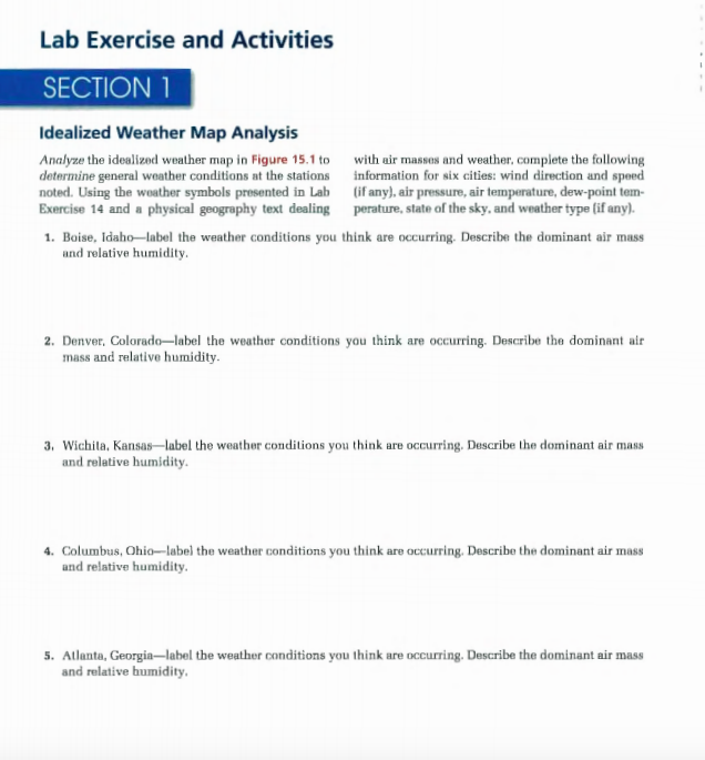 Solved: Lab Exercise And Activities SECTION1 Idealized Wea
