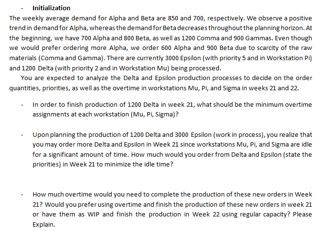 Initialization The Weekly Average Demand For Alpha