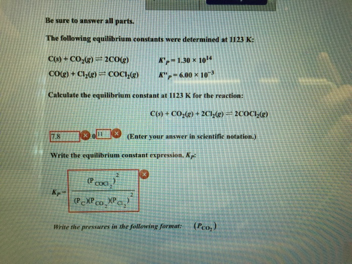 Solved: The Following Equilibrium Constants Were Determine ...