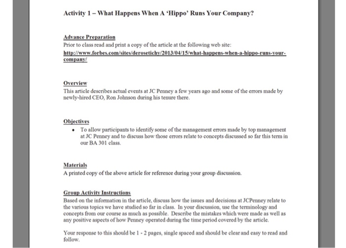 Solved: Activity 1-What Happens When A 'Hippo' Runs Your C