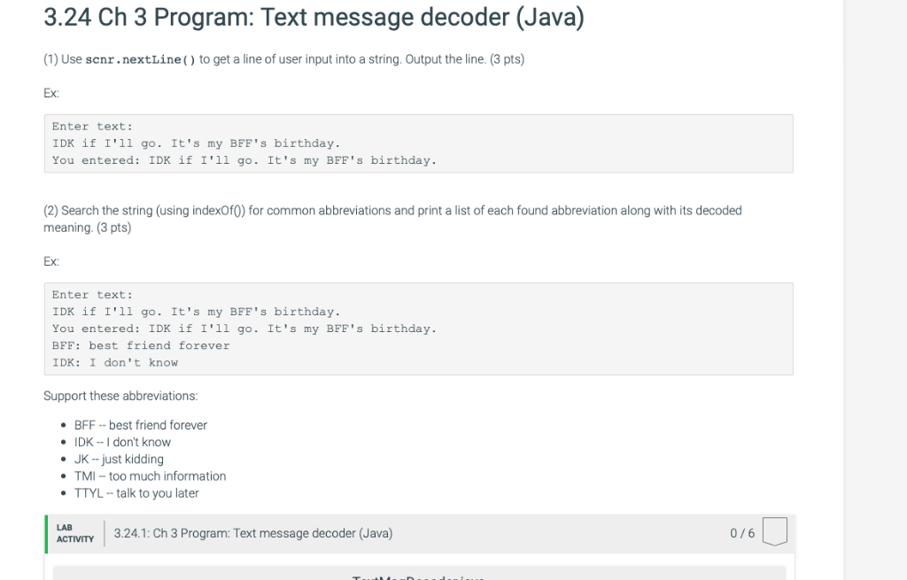Solved: 3 24 Ch 3 Program: Text Message Decoder (Java) (1