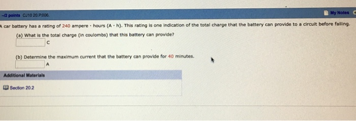 A Car Battery Has Rating Of