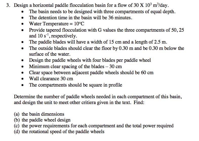 3  Design A Horizontal Paddle Flocculation Basin F