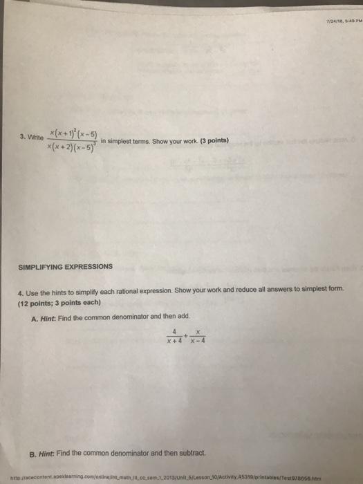 Math 3 Unit 7 Test Answers