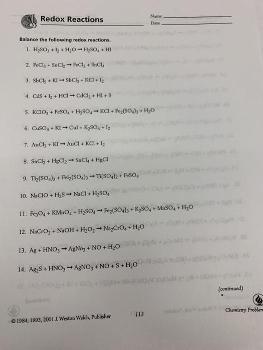 Equations Chemistry Problems J Weston Walch - Tessshebaylo