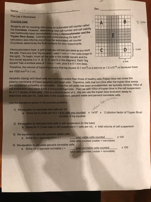 Sec: Name: Pre-Lab 4 Worksheet Students Will Be Co ...