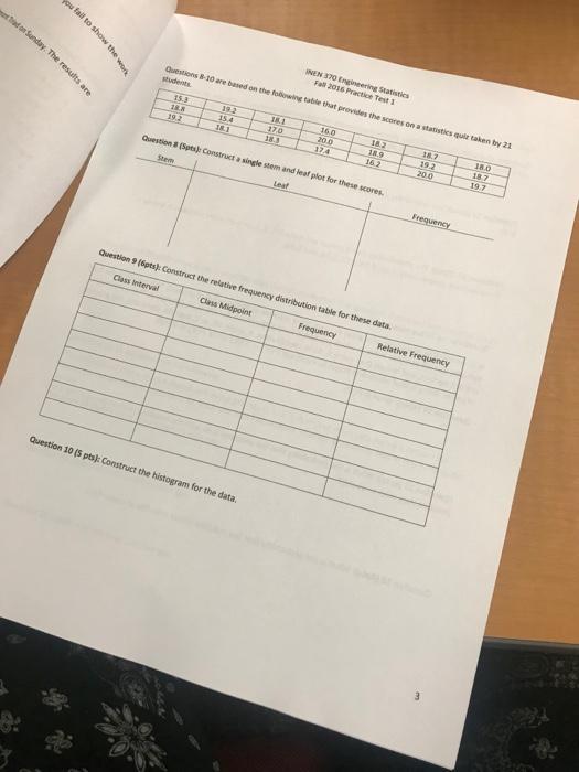 Solved: NEN 370 Engineering Statistics Fal 2016 Practice T