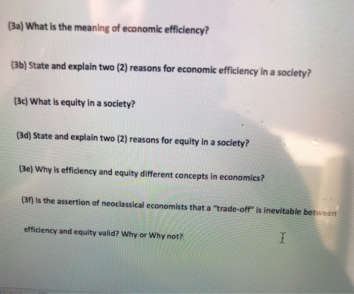 What Is Efficiency >> Solved Ba What Is The Meaning Of Economic Efficiency
