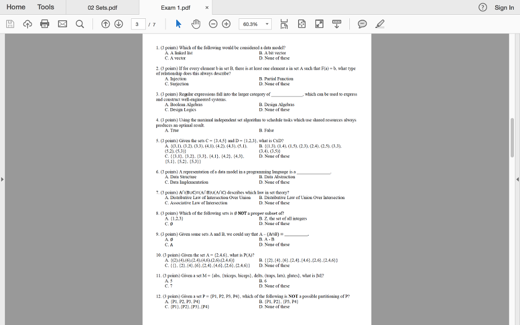 Solved: Home Tools 02 Sets pdf Exam 1 pdfx Sign In 1 3 Poi