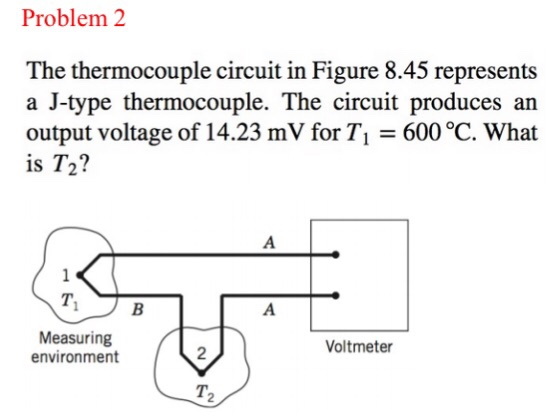 Solved  The Thermocouple Circuit In Figure 8 45 Represents