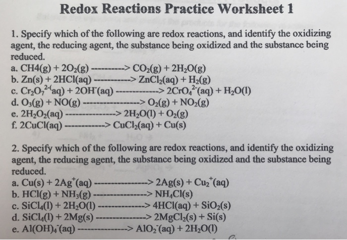 Solved: Redox Reactions Practice Worksheet 1 1. Specify Wh ...