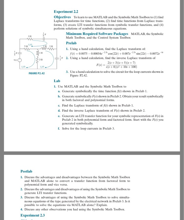Solved Experiment 22 Objectives To Learn To Use Matlab A
