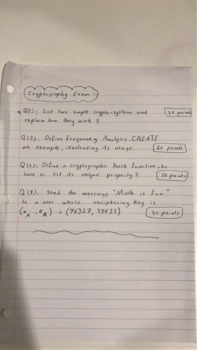 Solved: List Two Simple Crypto-system And Explain How They ...