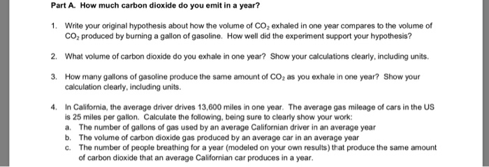 Part A  How Much Carbon Dioxide Do You Emit In A Y      Chegg com