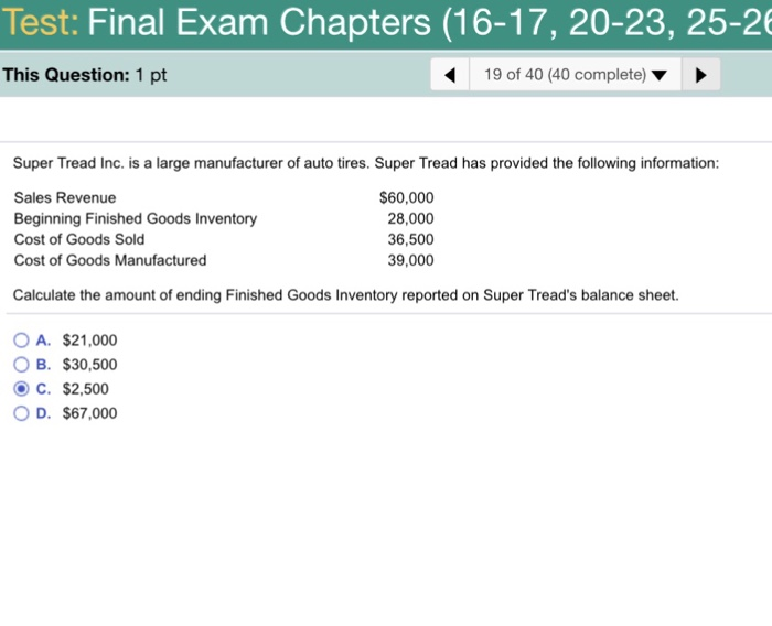 Question Test Final Exam Chapters 16 17 20 23 25 26 This 1 Pt 19 Of 40 Complete Super T