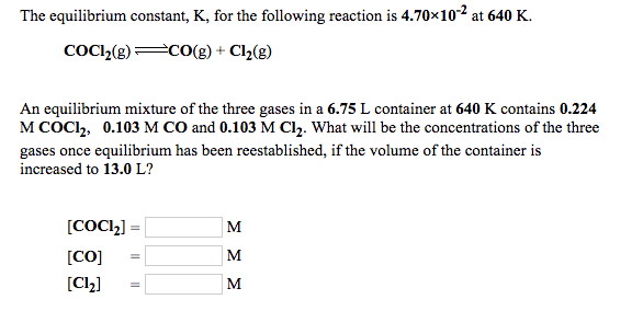 Solved: The Equilibrium Constant, K, For The Following Rea