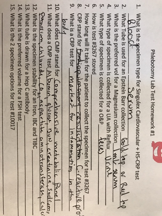 Solved: Phlebotomy Lab Test Homework #1 1. What Is The Spe ...