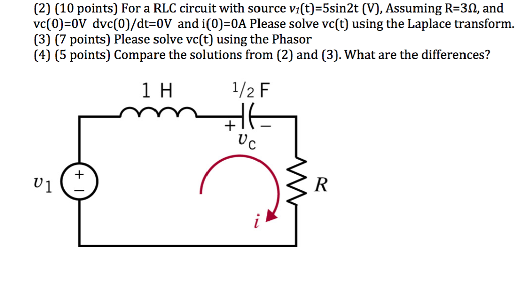 solved 2 10 points for a rlc circuit with source v1 t rh chegg com