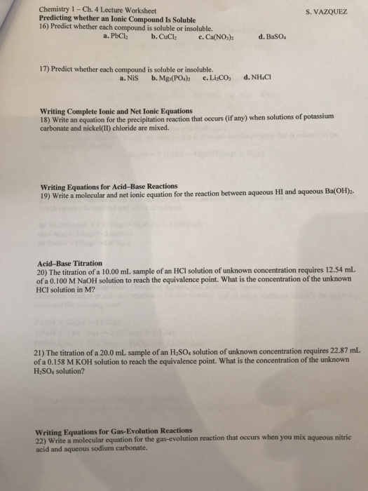 Solved: Chemistry 1- Ch. 4 Lecture Worksheet Predicting Wh ...