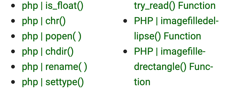 php | is_float0 php | chr php I popen() php | chdir0 php I rename() php I settype0 try_read) Function PHP imagefilledel- lipse0 Function . PHP imagefille- drectangle0 Func- tion