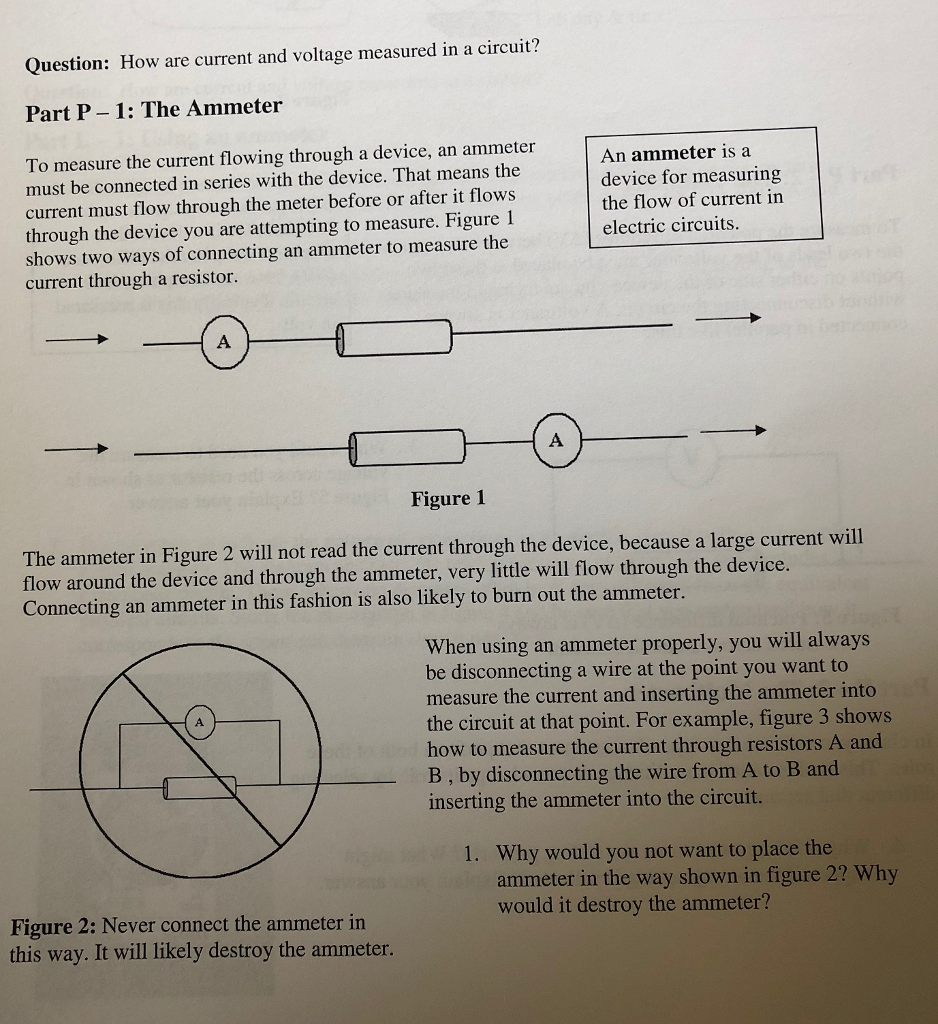 Solved Question How Are Current And Voltage Measured In Very Popular Images The Series Circuit A Part P 1