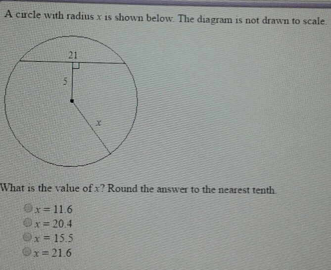 solved  a circle with radius x is shown below the diagram