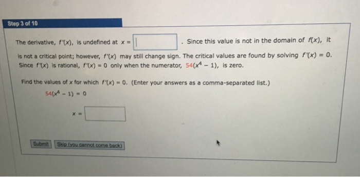 solved step 3 of 10 the derivative f x is undefined at