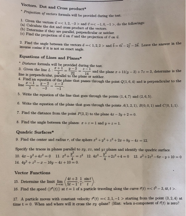 Solved Vectors Dot And Cross Product Projection Of Vect