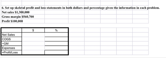 solved 6 set up skeletal profit and loss statements in b