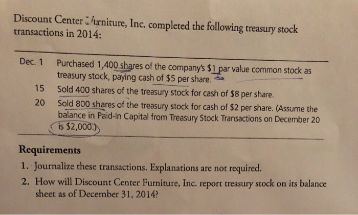 Discount Center Furniture, Inc. Completed The Following Treasury Stock  Transactions In 2014: Dec