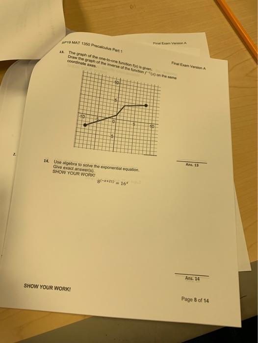 Solved: Part 1 MAT 1350 Final Exam Version A P Of A Certai