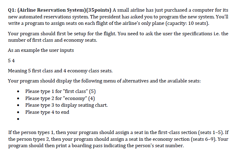 Q1 Airline Reservation System 35points A Small Has Just Purchased