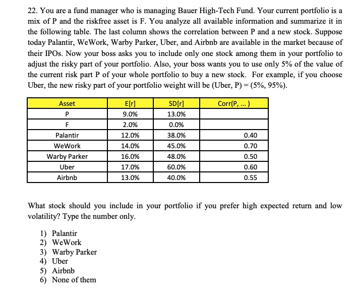 Solved: 22  You Are A Fund Manager Who Is Managing Bauer H