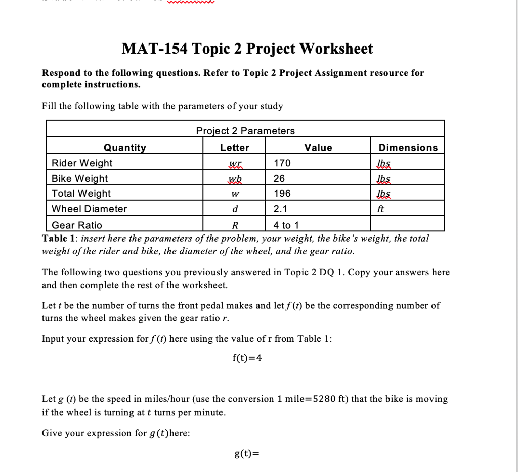 Solved: MAT-154 Topic 2 Project Assignment The Purpose Of