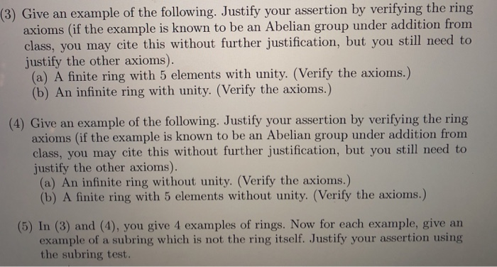 Solved: (3) Give An Example Of The Following  Justify Your