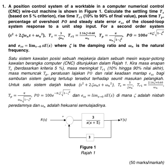 Solved: 1. A Position Control System Of A Worktable In A C ...