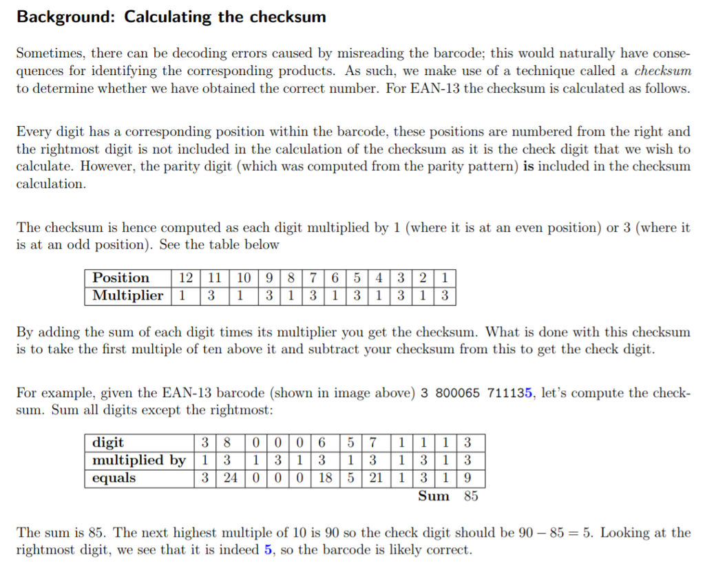 Solved: Feature 5: Checking Validity (checksum) Calculate