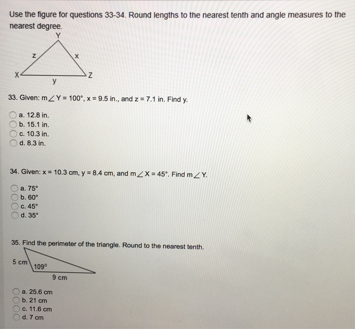 solved use the figure for questions round lengths to theuse the figure for questions 33 34 round lengths to the nearest tenth and