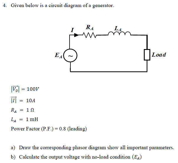 Given below is a circuit diagram of a generator RA Load I = 100v