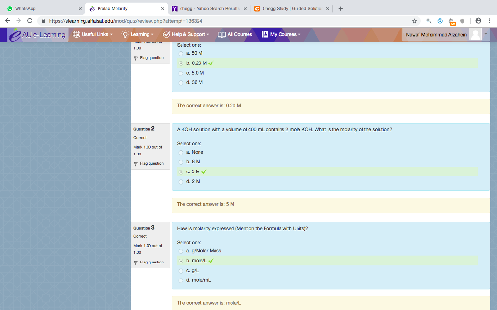 Solved: WhatsApp X E Prelab Molarity Chegg-Yahoo Search Re