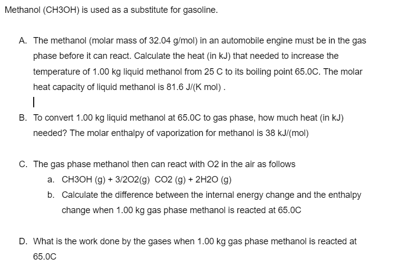 Methanol Ch3oh Is Used As A Subsute For Gasoline The