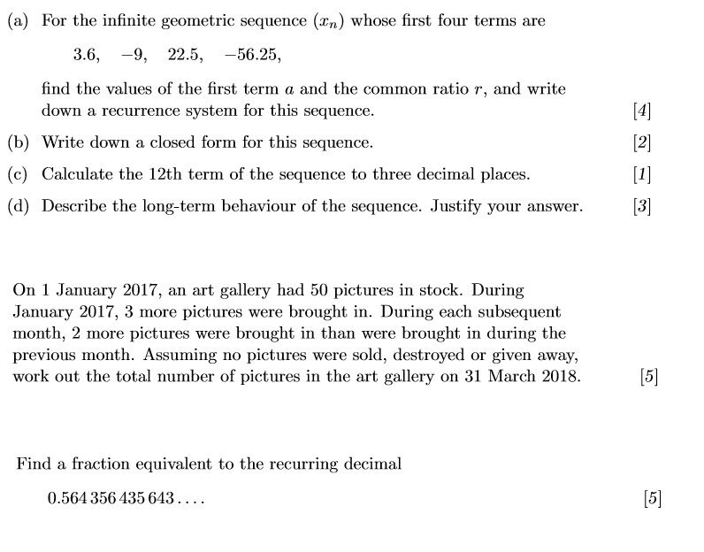 Solved: (a) For The Infinite Geometric Sequence (xn) Whose