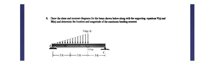 & Draw the shear and moment diagrams for the beam shown below aloeg with the supporting equatioon V() nd M(x) and determine the location and magnitude of the maximum bending moment 3kip I 3 ft 3 ft