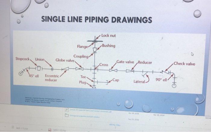 please show the single line diagram like example ( black and white) to the  actual piping assembly ( color) problem need to do single line diagram for