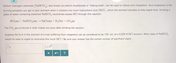 Solved Sodium Hydrogen Carbonate Nalico Also Known As