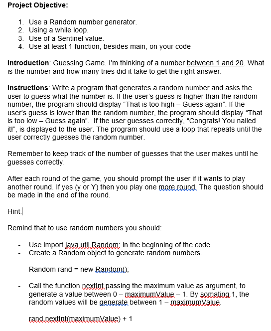 Solved: Project Objective: 1  Use A Random Number Generato