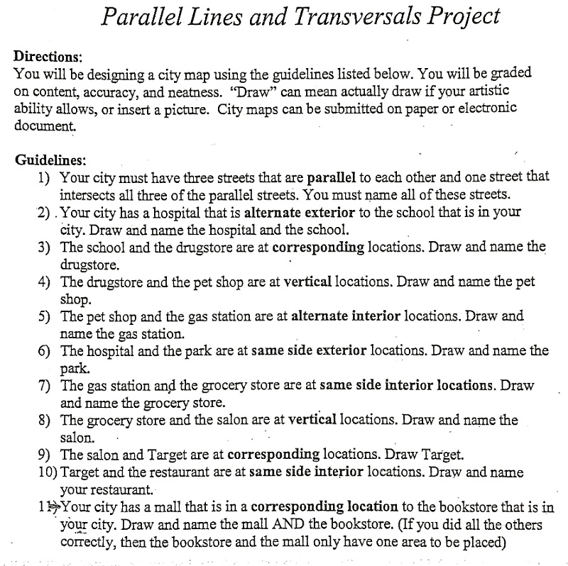 Solved  Parallel Lines And Transversals Project Directions