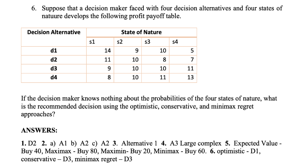 Solved: 6  Suppose That A Decision Maker Faced With Four D