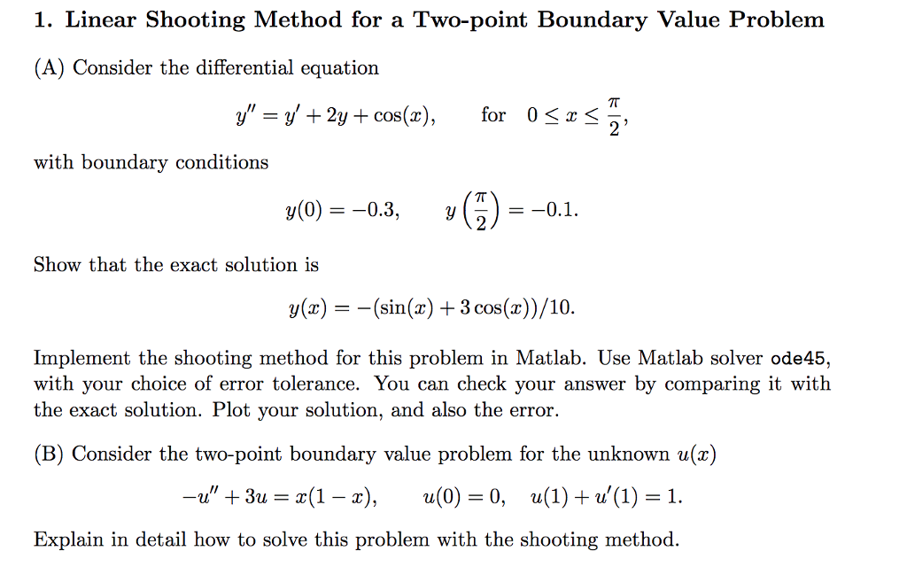 Solved: 1  Linear Shooting Method For A Two-point Boundary
